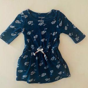 Cat & Jack Blue Floral Dress with Tie Waist 2T